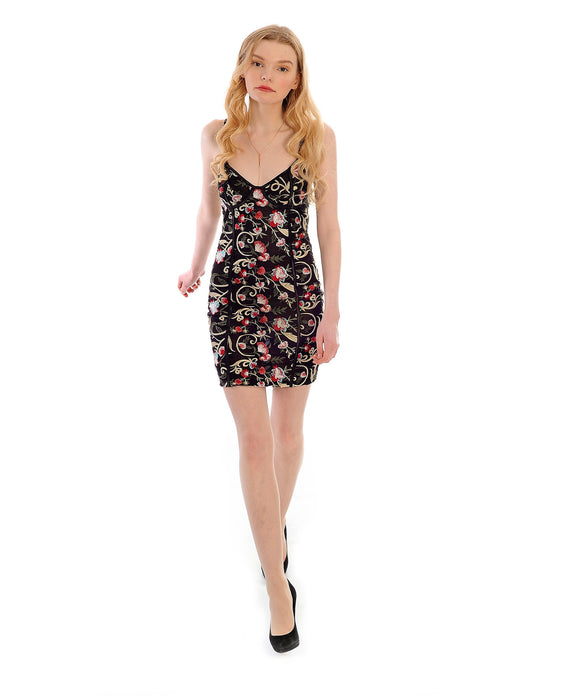 MISSGUIDED BLACK FLORAL EMBROIDERED MINI DRESS