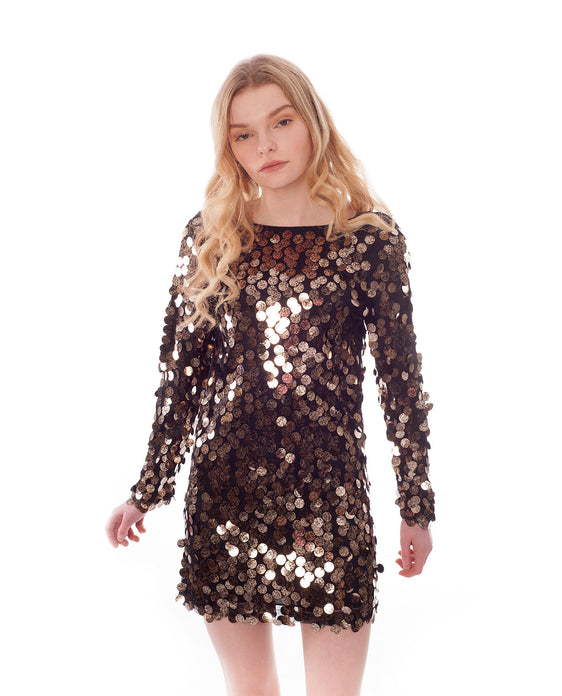Rent Motel Sequin dress | Black and gold longsleeved | Hirestreetuk.com