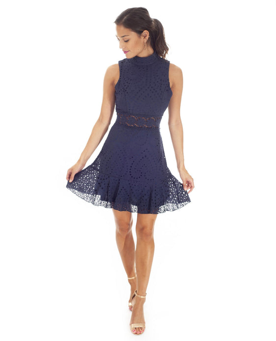 Hire Navy Cotton Lace Mini Dress | Hirestreetuk.com