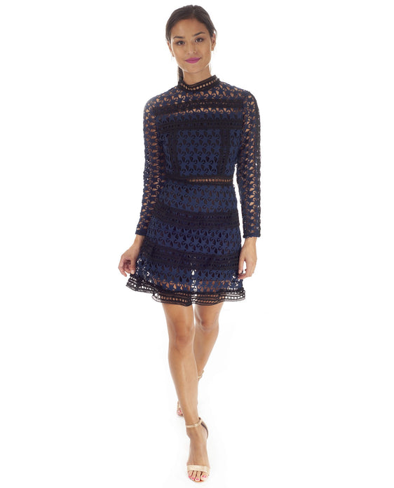 Hire Navy Lace Dress With Star Detail And Tiered Lace Skirt | Hirestreetuk.com