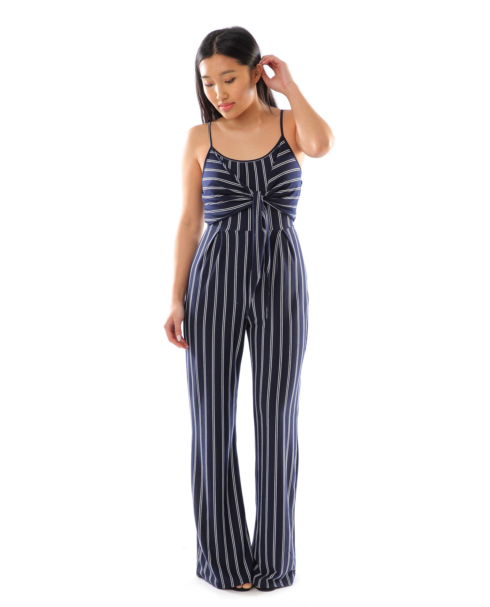 Rent a Jumpsuit | Navy and white striped jumpsuit | Hirestreetuk.com