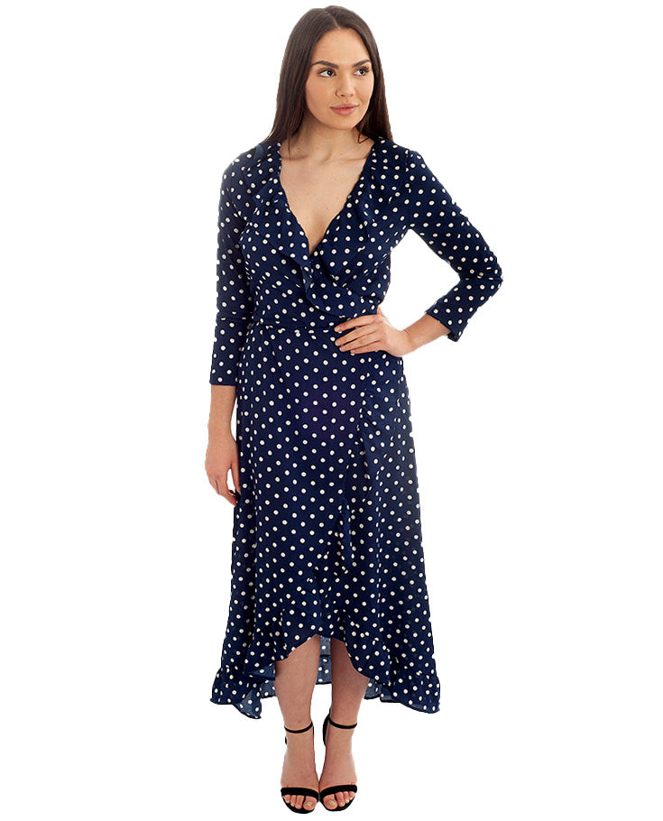 e40cc3f4159922 Rent Navy Wrap Polka Dot Midi Dress | Hirestreetuk.com