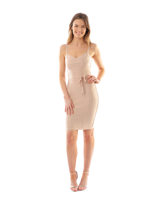 NUDE BODYCON DRESS WITH BELT DETAIL