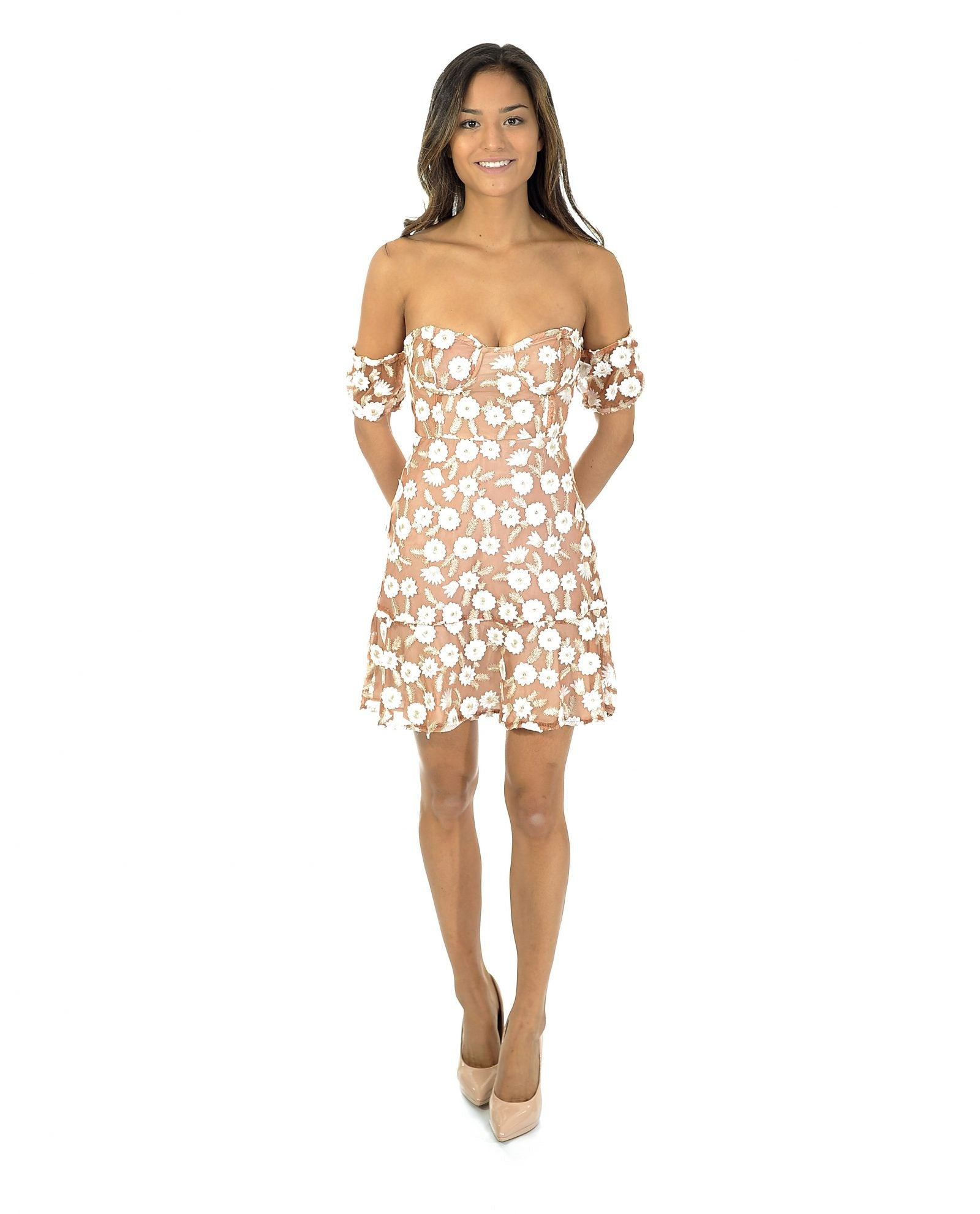 NUDE & WHITE FLORAL BANDEAU DRESS_AAA0366
