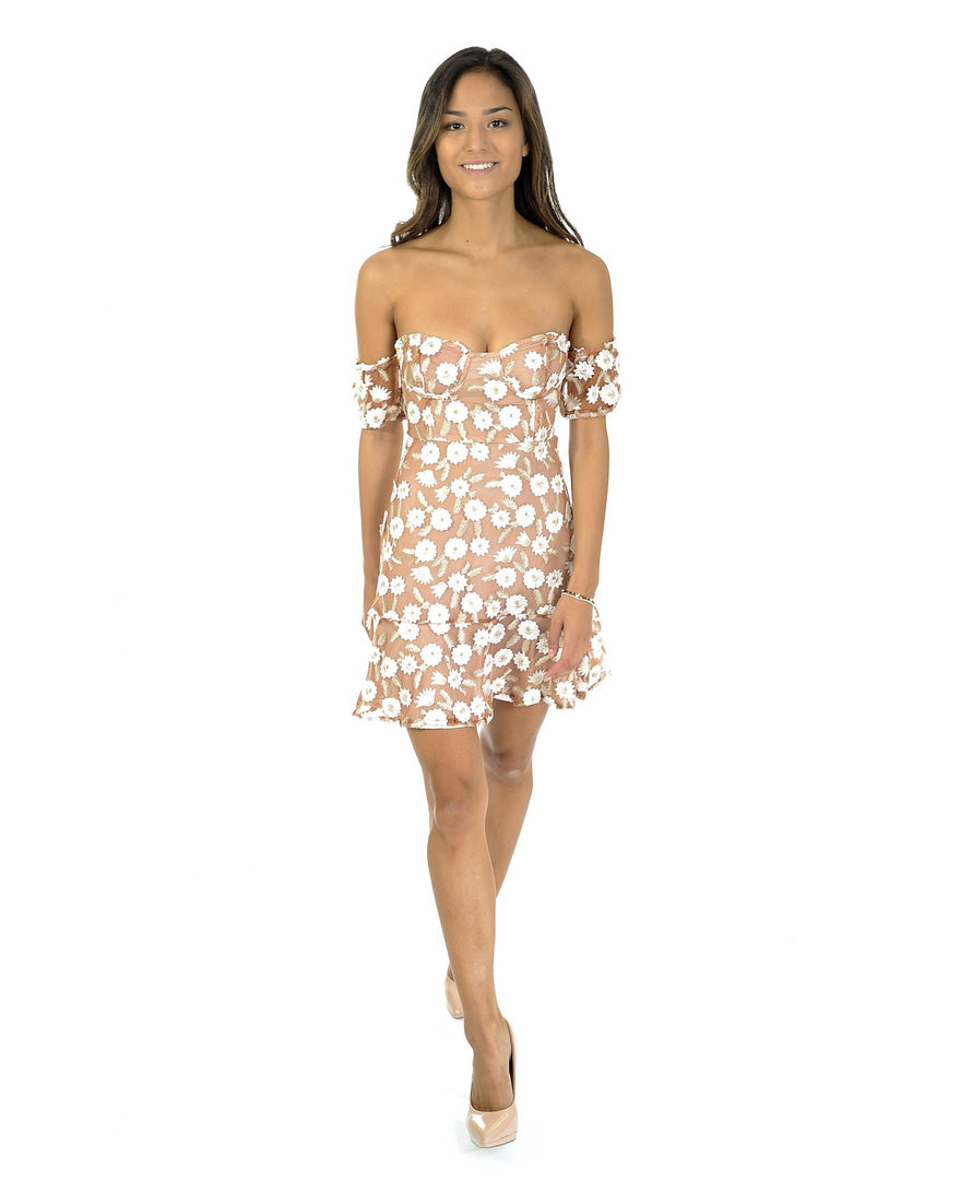 NUDE & WHITE FLORAL BANDEAU DRESS_AAA0368