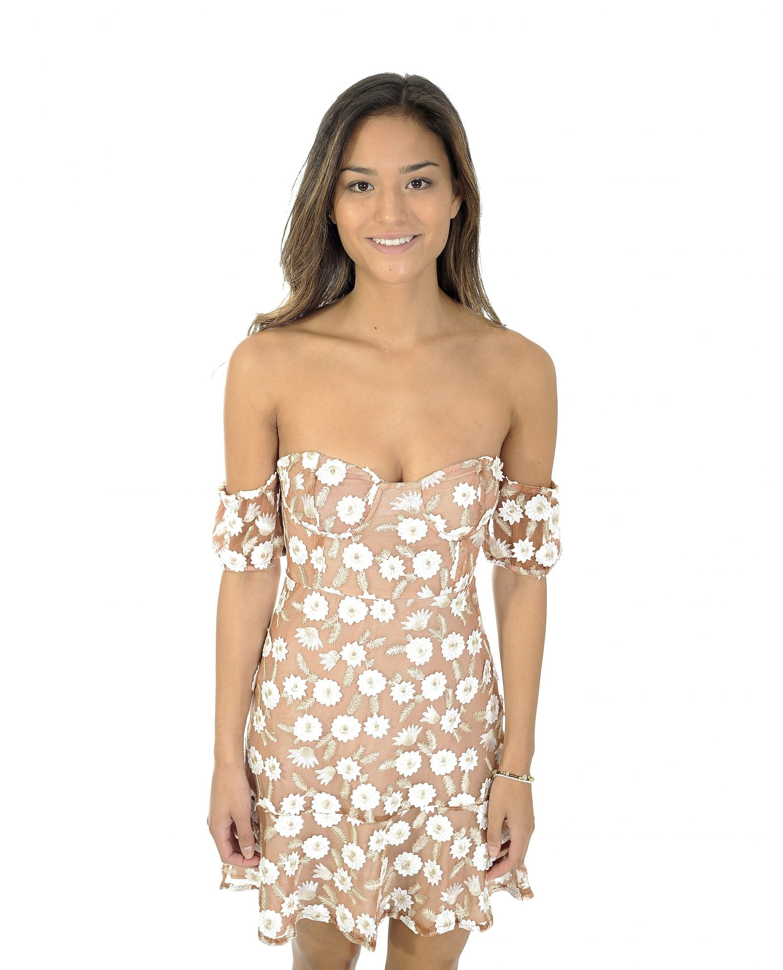 NUDE & WHITE FLORAL BANDEAU DRESS_AAA0372