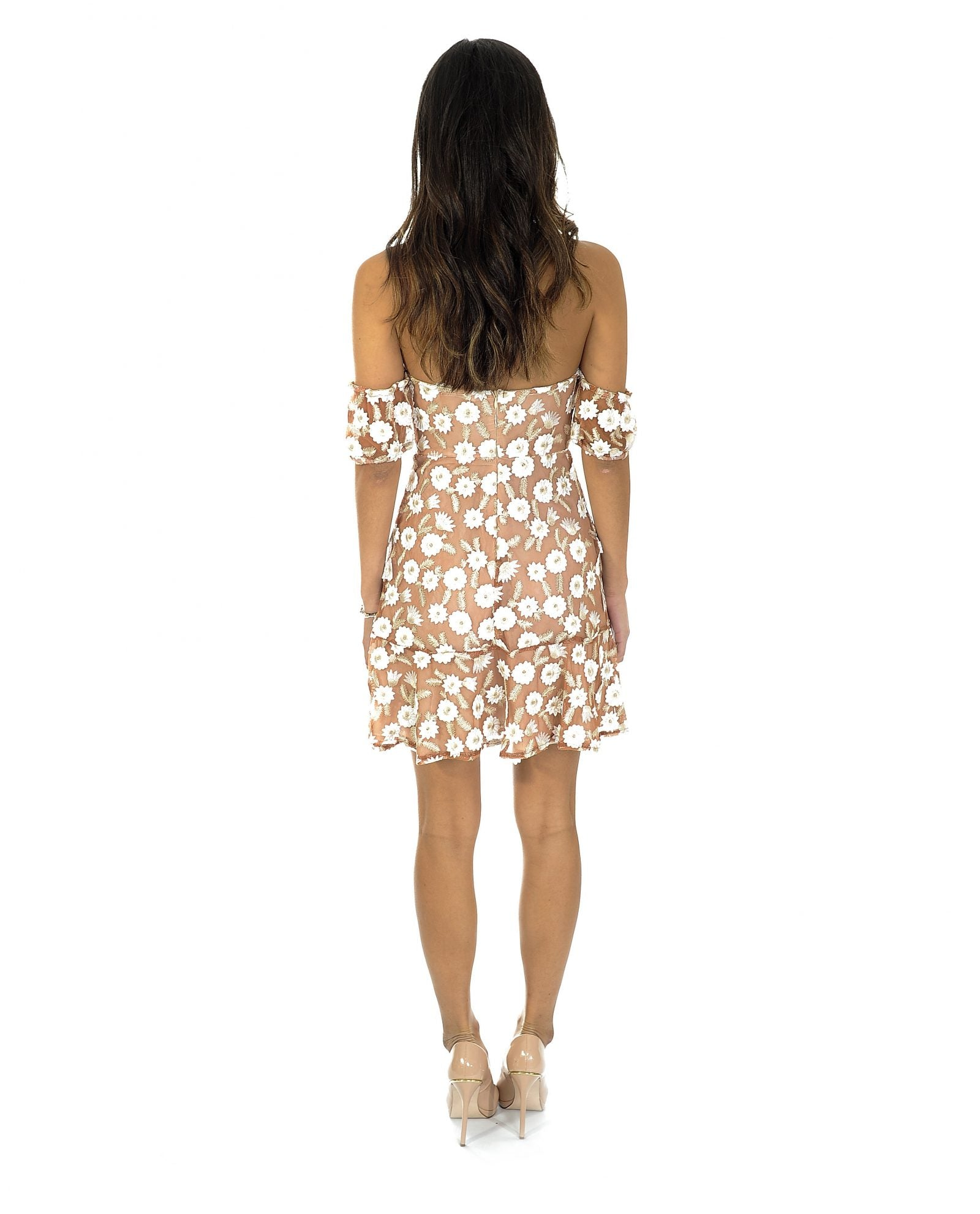 NUDE & WHITE FLORAL BANDEAU DRESS_AAA0373