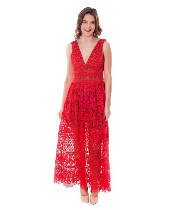 NASTY GAL RED LACE MIDI DRESS