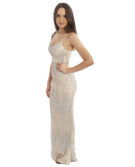 NUDE MAXI WITH SILVER GLITTER DETAIL