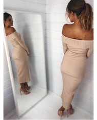 HIRE OFF THE SHOULDER NUDE BODYCON MAXI DRESS_1