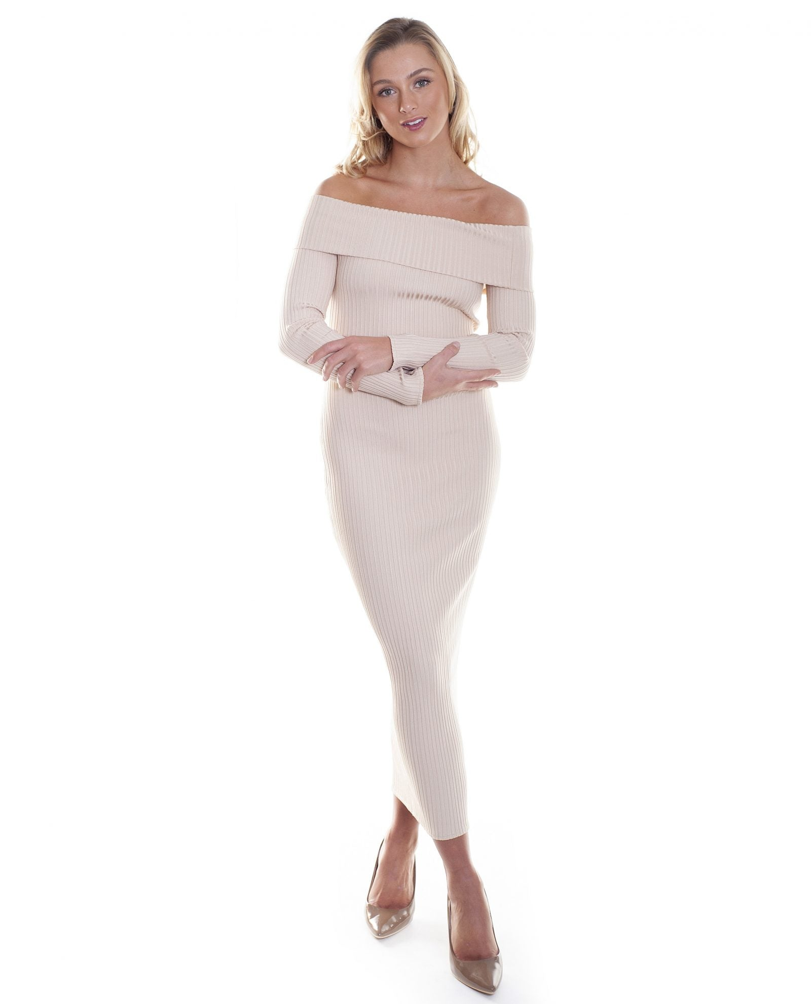 HIRE OFF THE SHOULDER NUDE BODYCON MAXI DRESS | Hirestreetuk.com