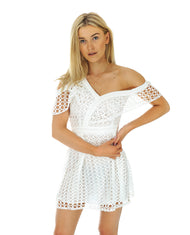 Hire One Shoulder White Lace Dress | Hirestreetuk.com