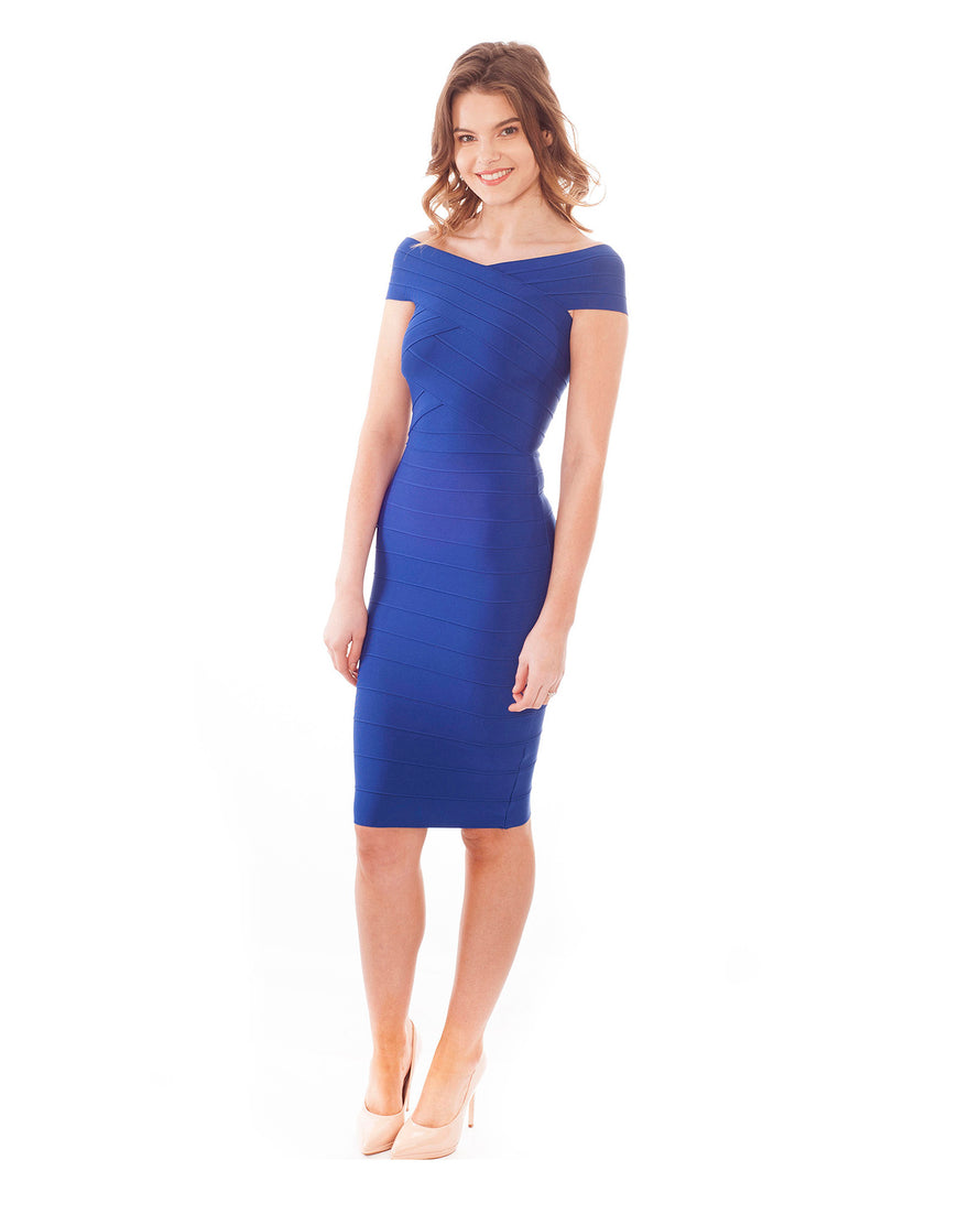 Rent this off the shoulder blue bodycon dress - Hirestreetuk.com