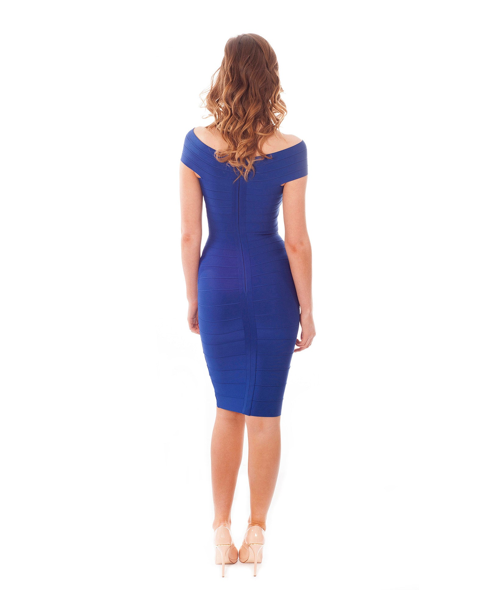 Rental dress | Off the shoulder blue bodycon midi dress | Hirestreetuk.com