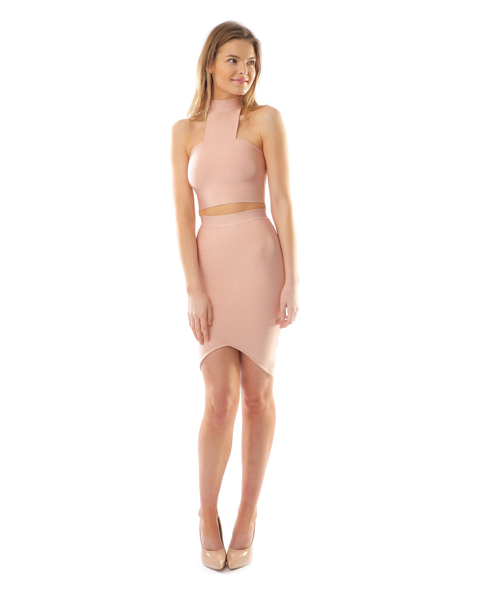 Rent dress | Pale pink bodycon two piece | Hirestreetuk.com