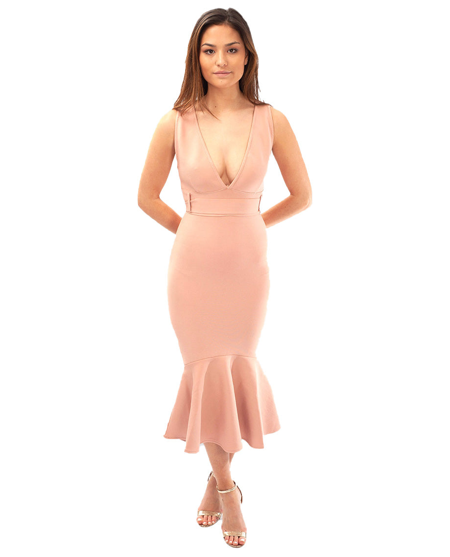 PALE PINK V NECK MERMAID MIDI DRESS