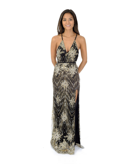 PLUNGING BLACK GLITTER MAXI WITH THIGH SPLIT_AAA0449