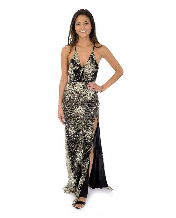 PLUNGING BLACK GLITTER MAXI WITH THIGH SPLIT