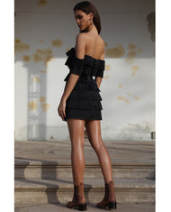 HIRE PREM THE LABEL BLACK TASSEL TIERED MINI DRESS 3