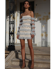 HIRE PREM THE LABEL WHITE FLORAL FRILL MINI DRESS WITH SLEEVES 2
