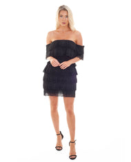 PREM THE LABEL BLACK TASSEL TIERED MINI DRESS