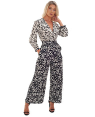 FRENCH CONNECTION DELFINA DRAPE FLORAL JUMPSUIT