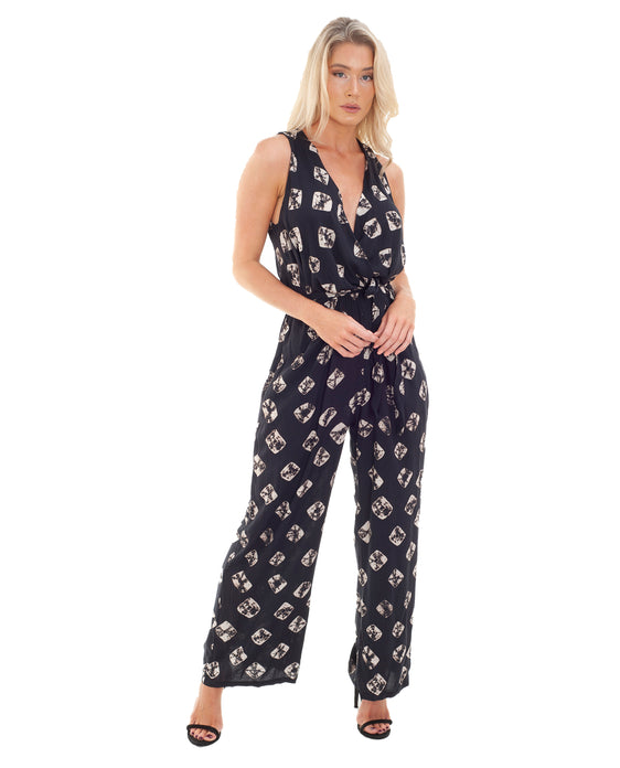 RELIGION BLACK JUMPSUIT WITH BOUND PRINT