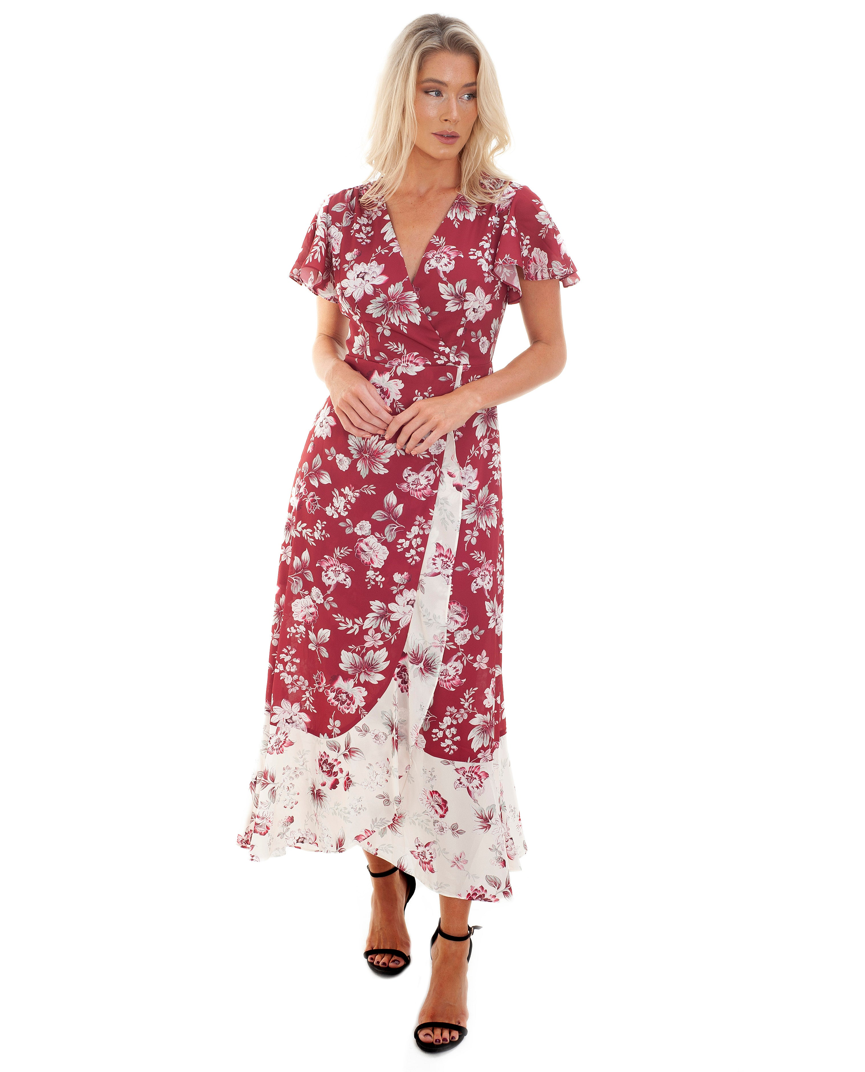 FRENCH CONNECTION ALETTA CREPE V NECK DRESS