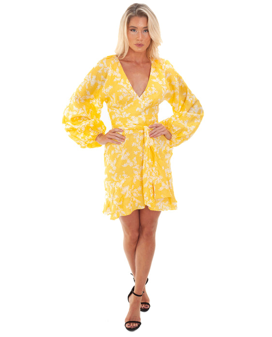 KEEPSAKE THE LABEL FALLEN LONG SLEEVE GOLDEN FLORAL DRESS
