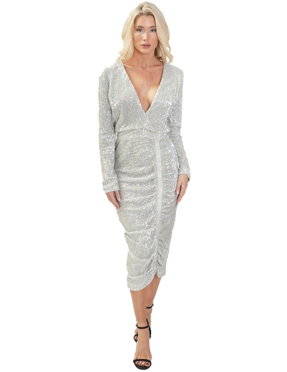 LAVISH ALICE SILVER SEQUIN MIDI DRESS