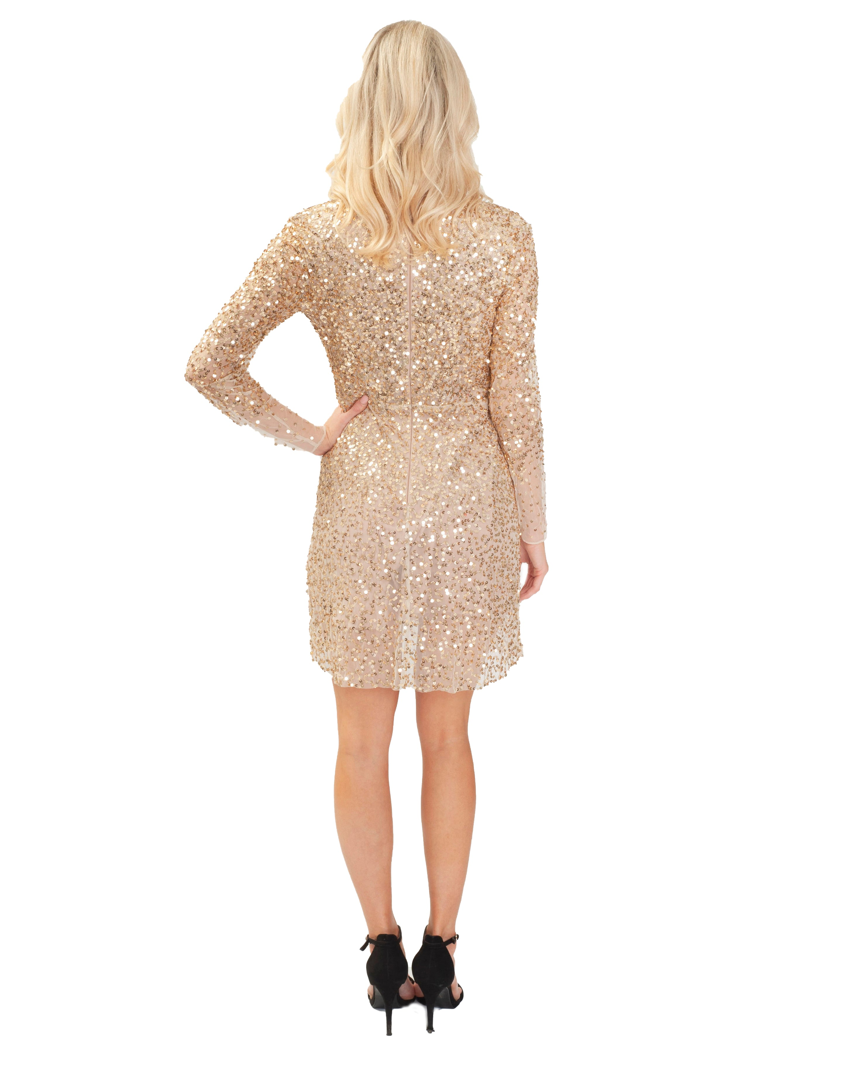 FRENCH CONNECTION EMILLE SPARKLE SHORT GOLD DRESS