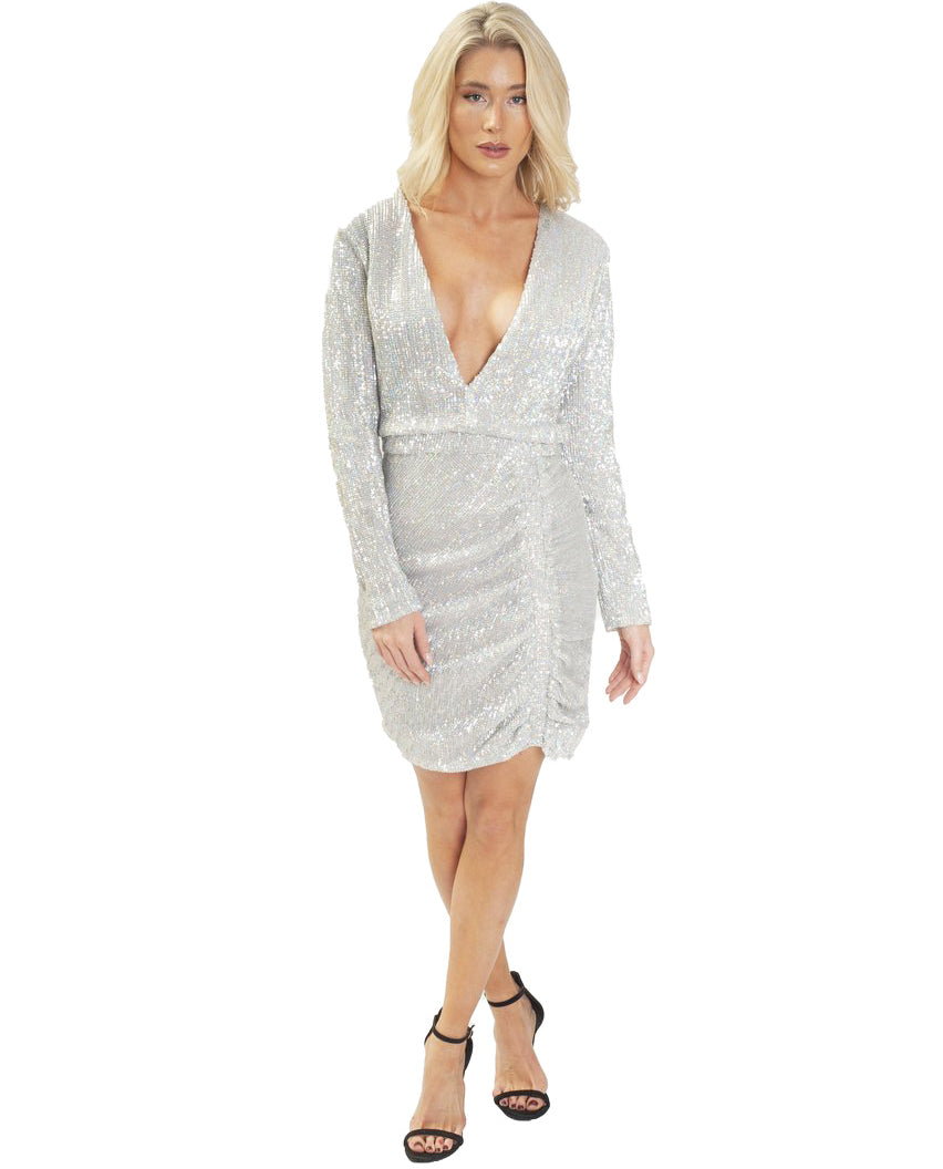 LAVISH ALICE SILVER SEQUIN MINI DRESS