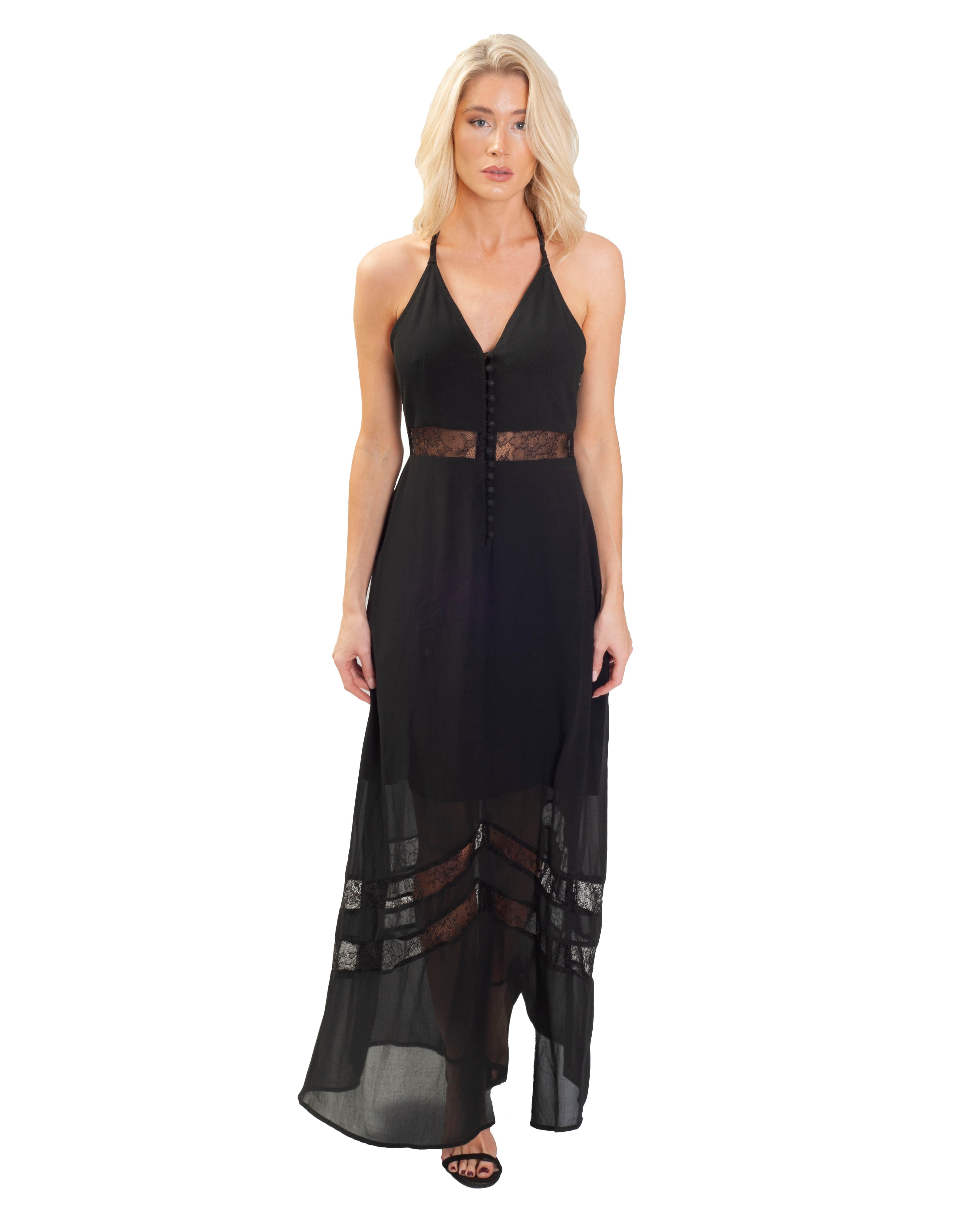 JARLO BLACK MAXI WITH LACE INSERTS