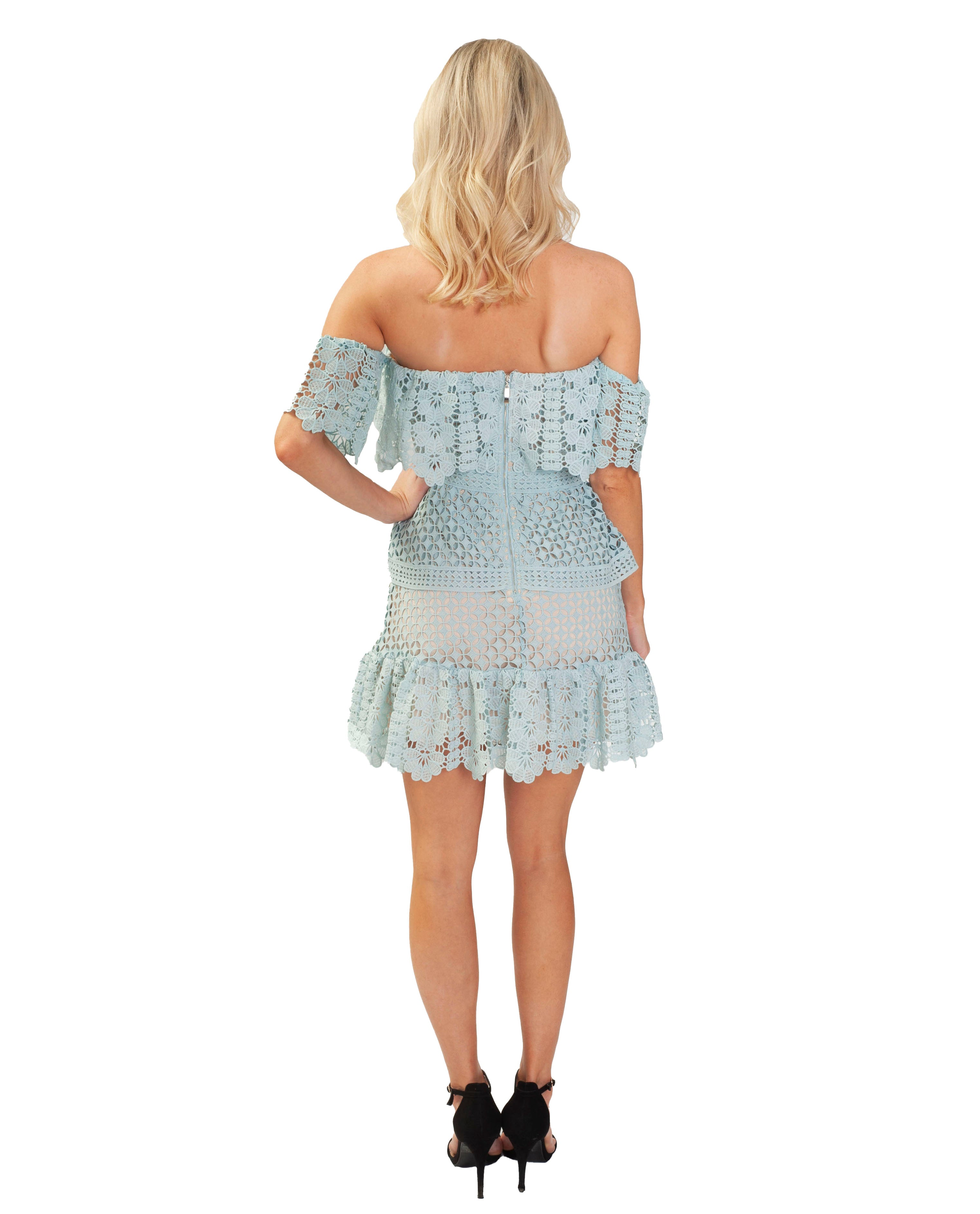 RUNAWAY THE LABEL BABY BLUE MINI DRESS WITH LACE DETAIL