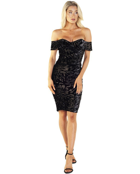 BARDOT SEQUIN VELVET DRESS IN BLACK
