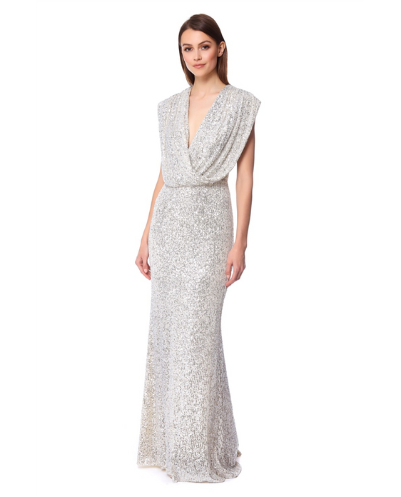 JARLO CHLOE SILVER MAXI DRESS