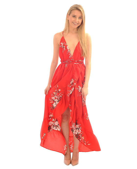 RED FLORAL WRAP MAXI DRESS