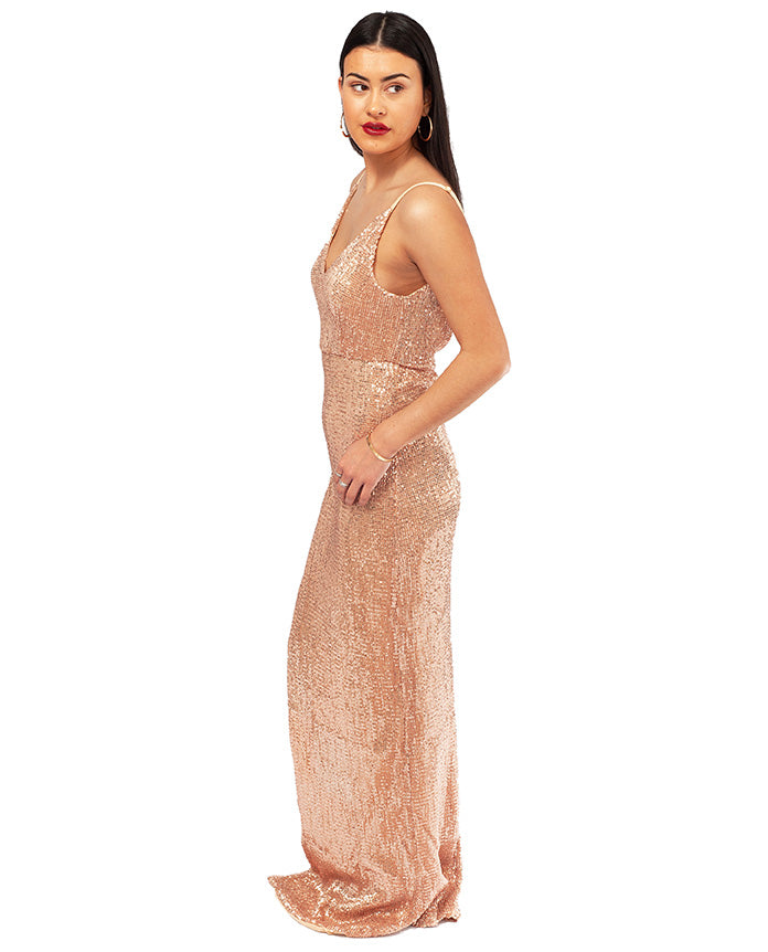 HIRE ROSE GOLD MAXI WITH EXTREME THIGH SPLIT_AAA7843