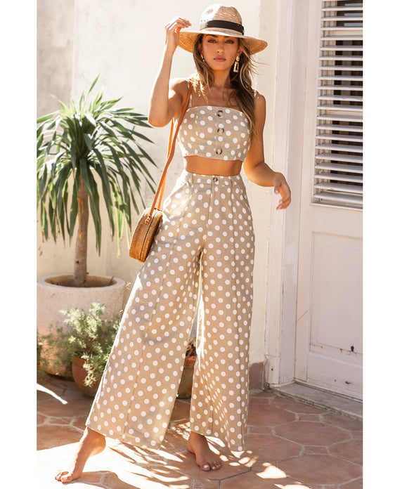 HIRE RUNAWAY POLKA DOT CO-ORD IN NATURAL AND WHITE