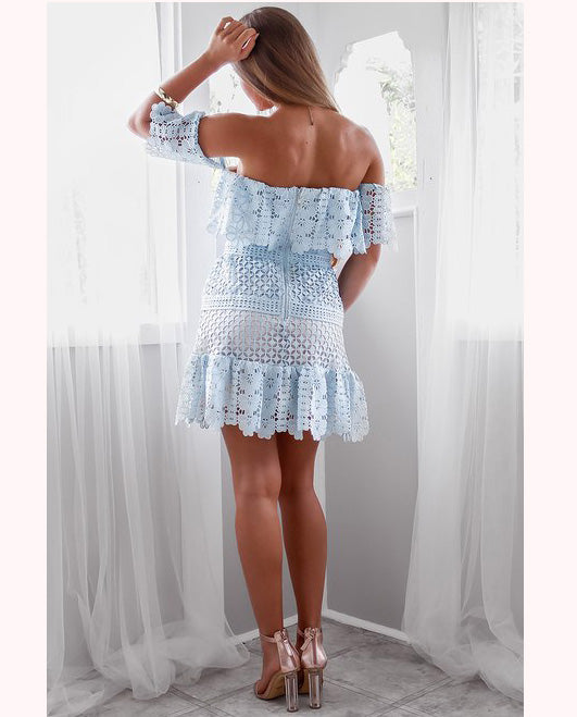 HIRE RUNAWAY THE LABEL BABY BLUE MINI DRESS WITH LACE DETAIL 7