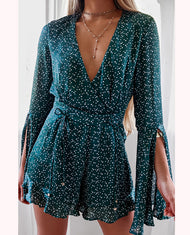 HIRE RUNAWAY THE LABEL MINI EMERALD PLAYSUIT WITH FLARED SLEEVES 1