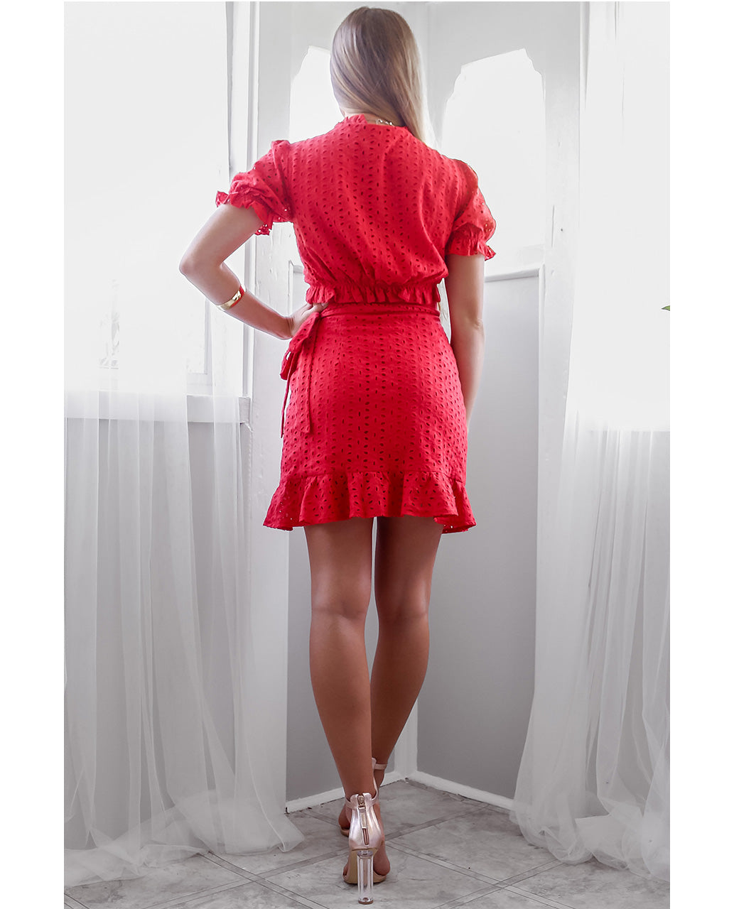HIRE RUNAWAY THE LABEL RED WRAP CO-ORD 2