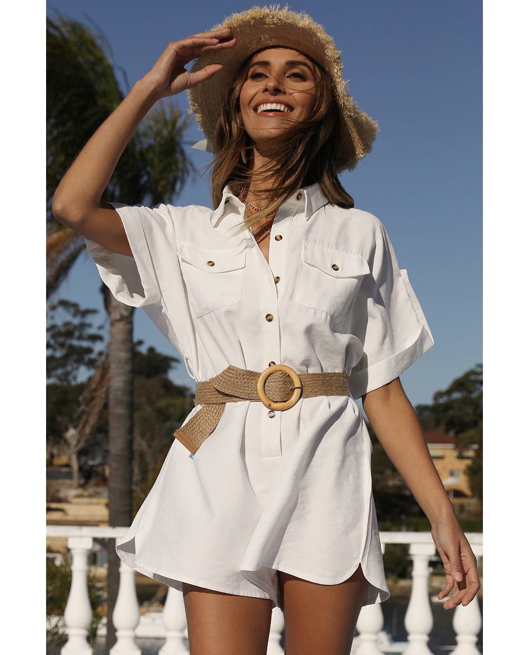 HIRE RUNAWAY WHITE SHIRT STYLE PLAYSUIT 3