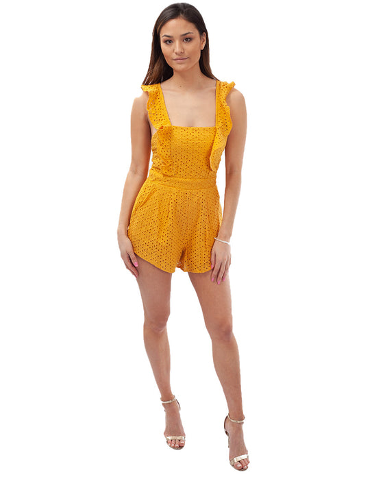 RUNAWAY MANGO PLAYSUIT WITH FRILL DETAIL