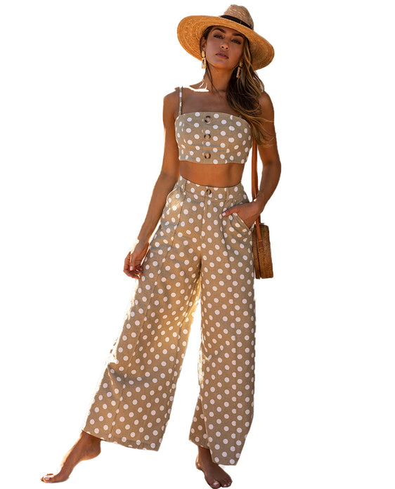 RUNAWAY POLKA DOT CO-ORD IN NATURAL AND WHITE