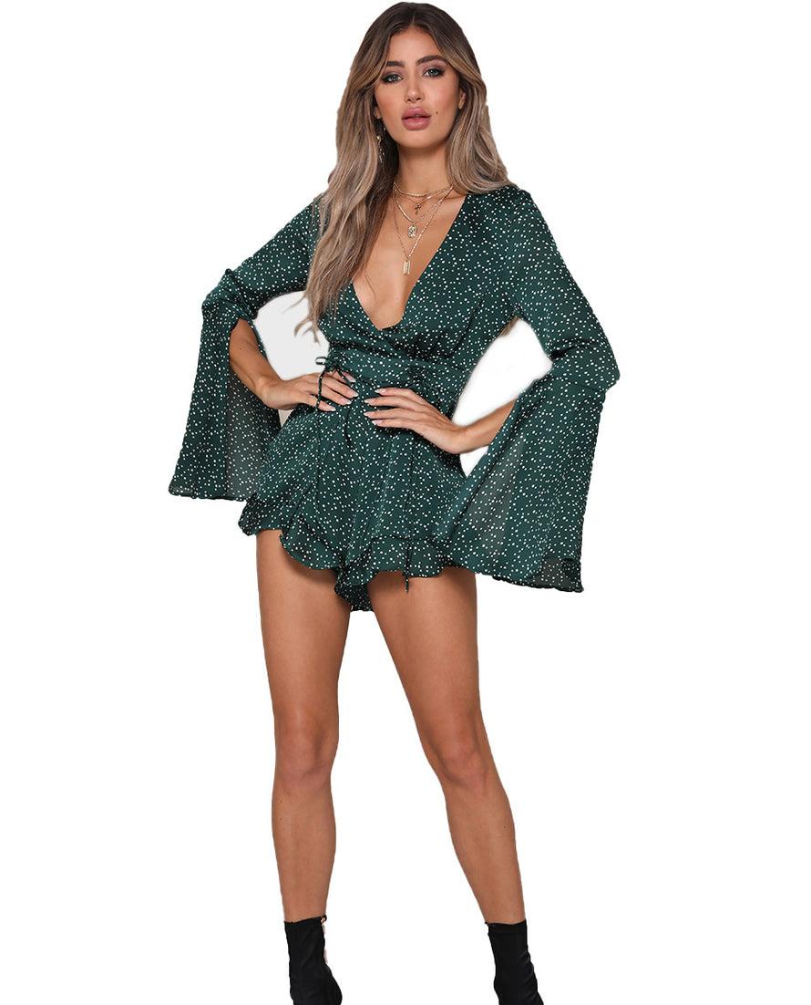 RUNAWAY THE LABEL MINI EMERALD PLAYSUIT WITH FLARED SLEEVES