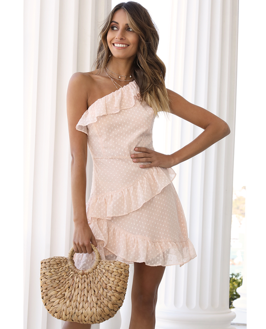 Hire Runaway The Label One Shoulder Peach Dress With Ruffle Detail 5