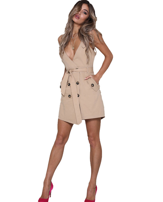 RUNAWAY THE LABEL TAN MINI DRESS WITH BUTTON DETAIL