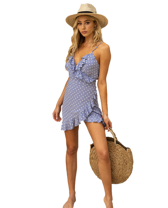 SEVEN WONDERS BLUE POLKA DOT MINI WRAP DRESS