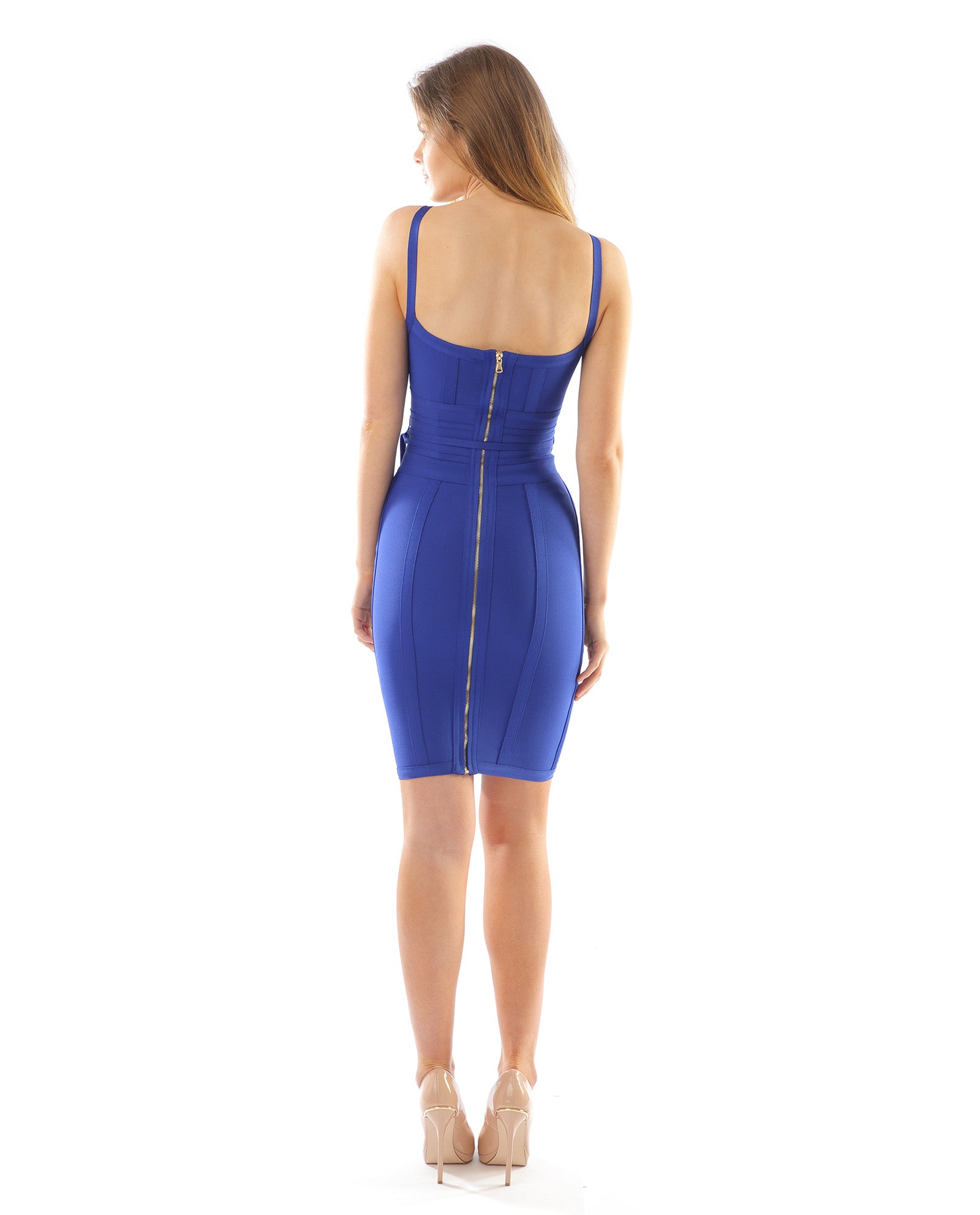 Rent dress | Blue bodycon tie waist dress | Hirestreetuk.com